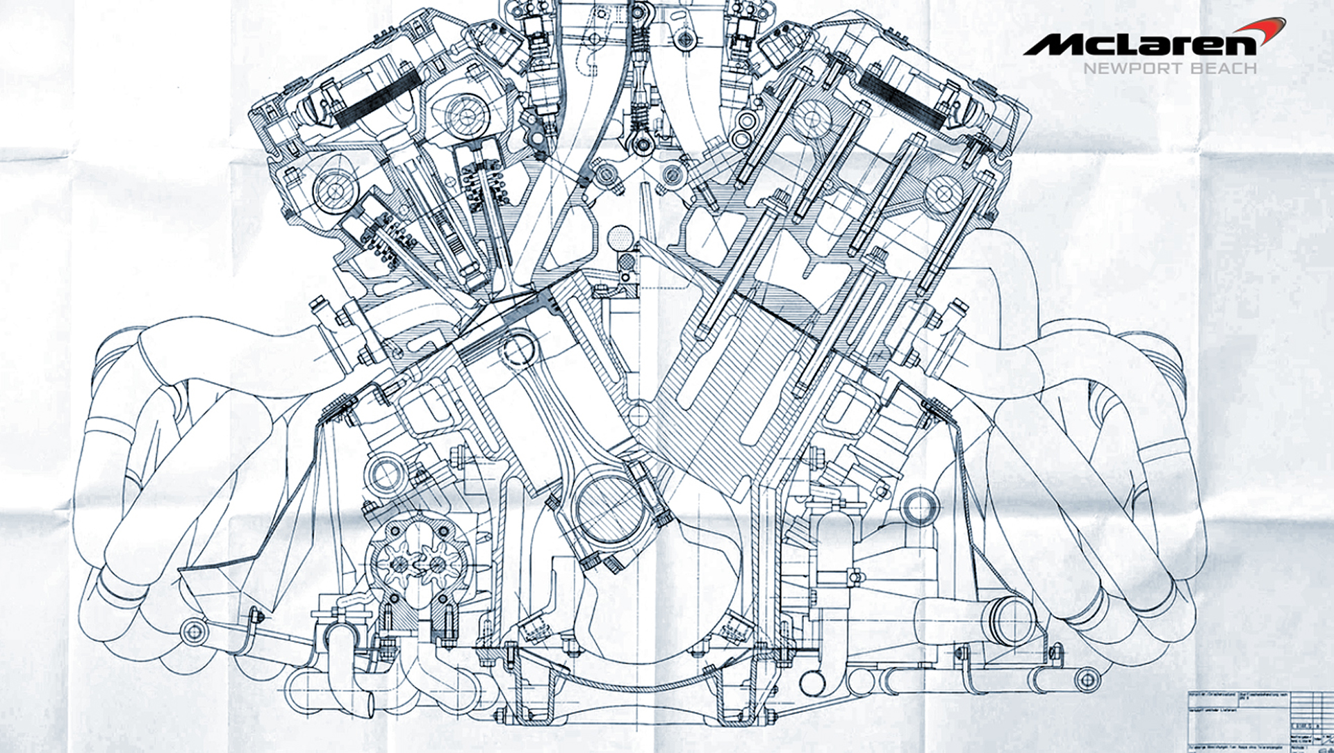 McLaren - engine / moteur - M838T - sketch tech / dessin technique