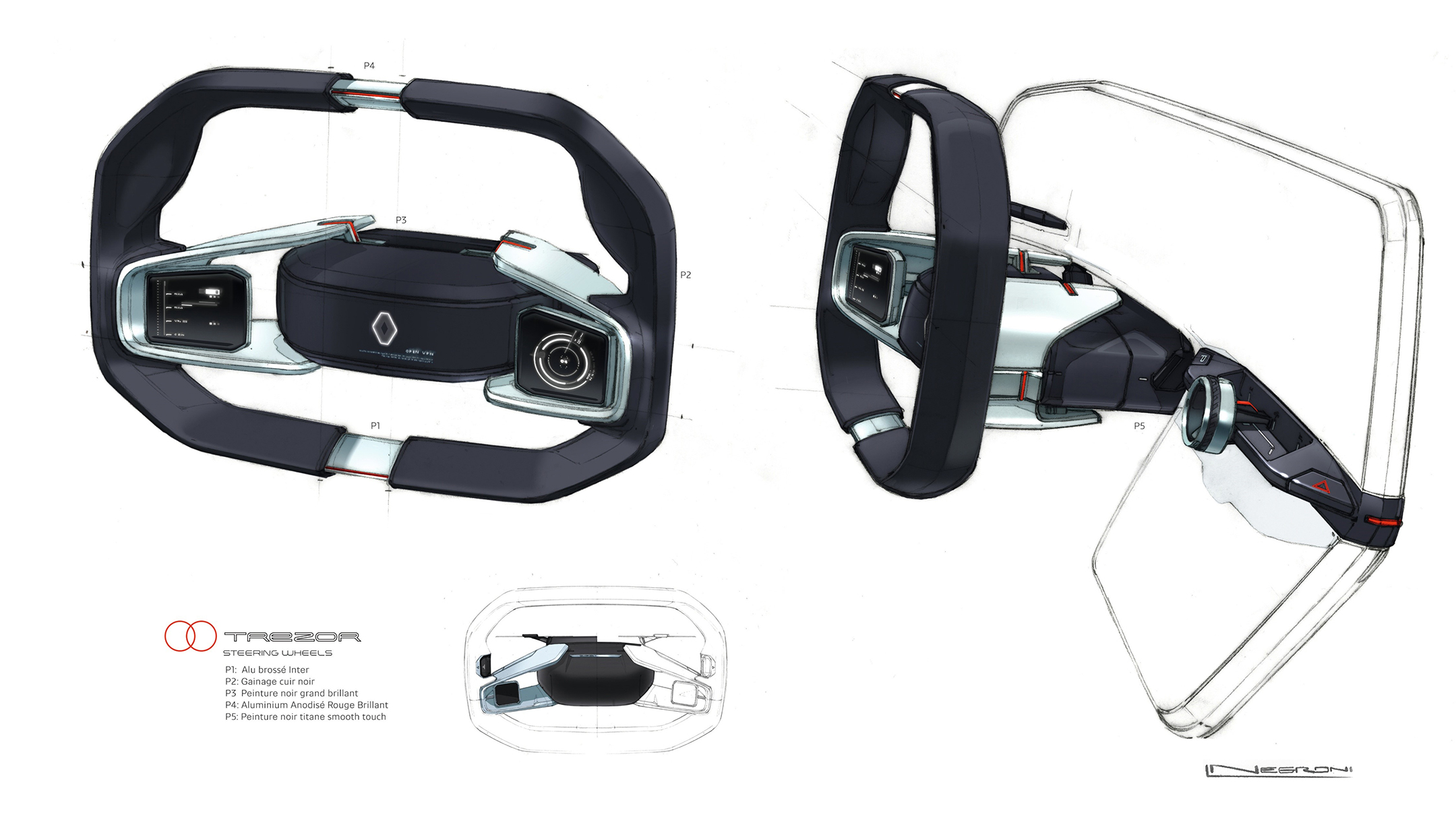 Renault TREZOR - 2016 - sketch - driving wheel / volant
