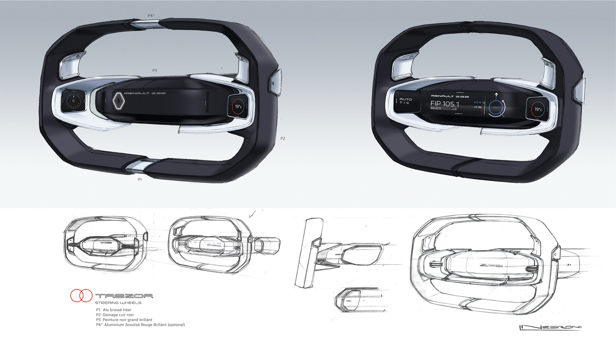 Renault TREZOR - 2016 - sketch - screen driving wheel / volant écran