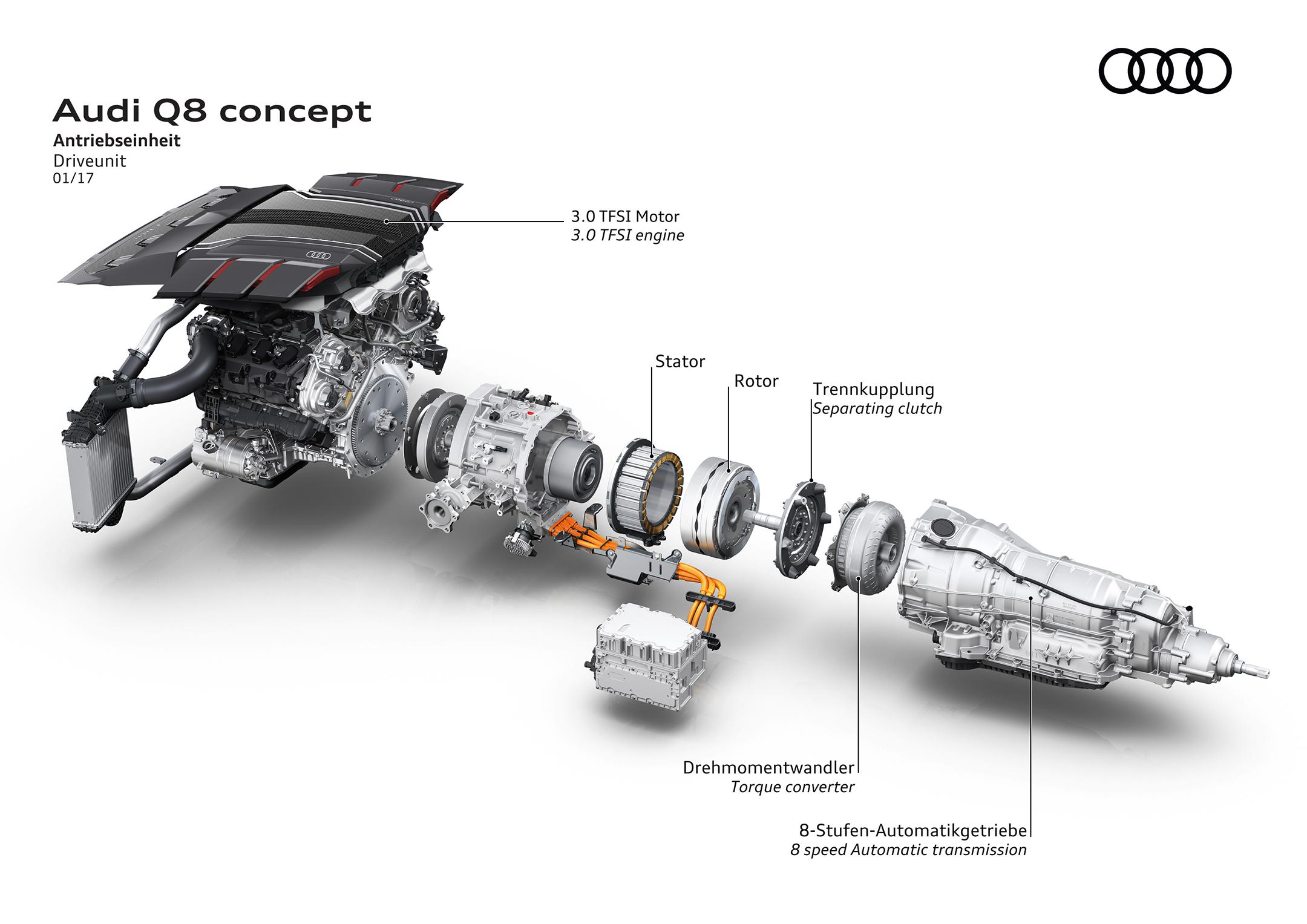 Audi Q8 concept - NAIAS 2017 - driveunit