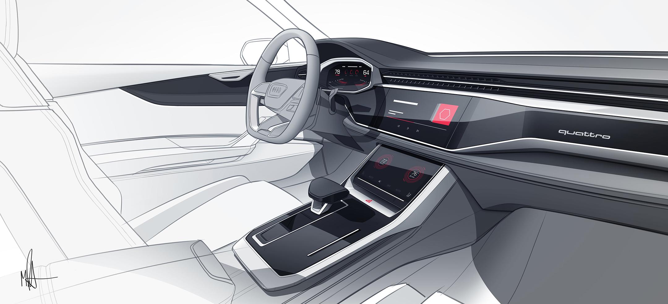 Audi Q8 concept - NAIAS 2017 - sketch interior / intérieur