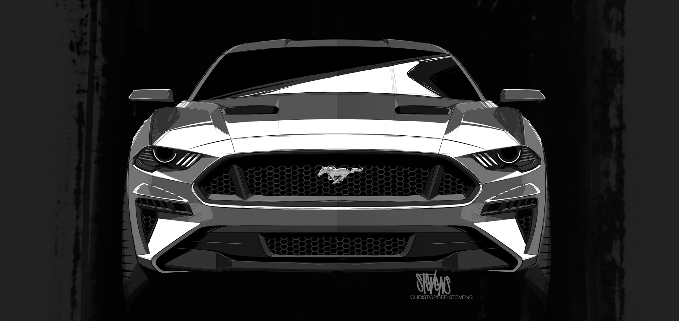Mustang MY2018 - sketch - front / avant