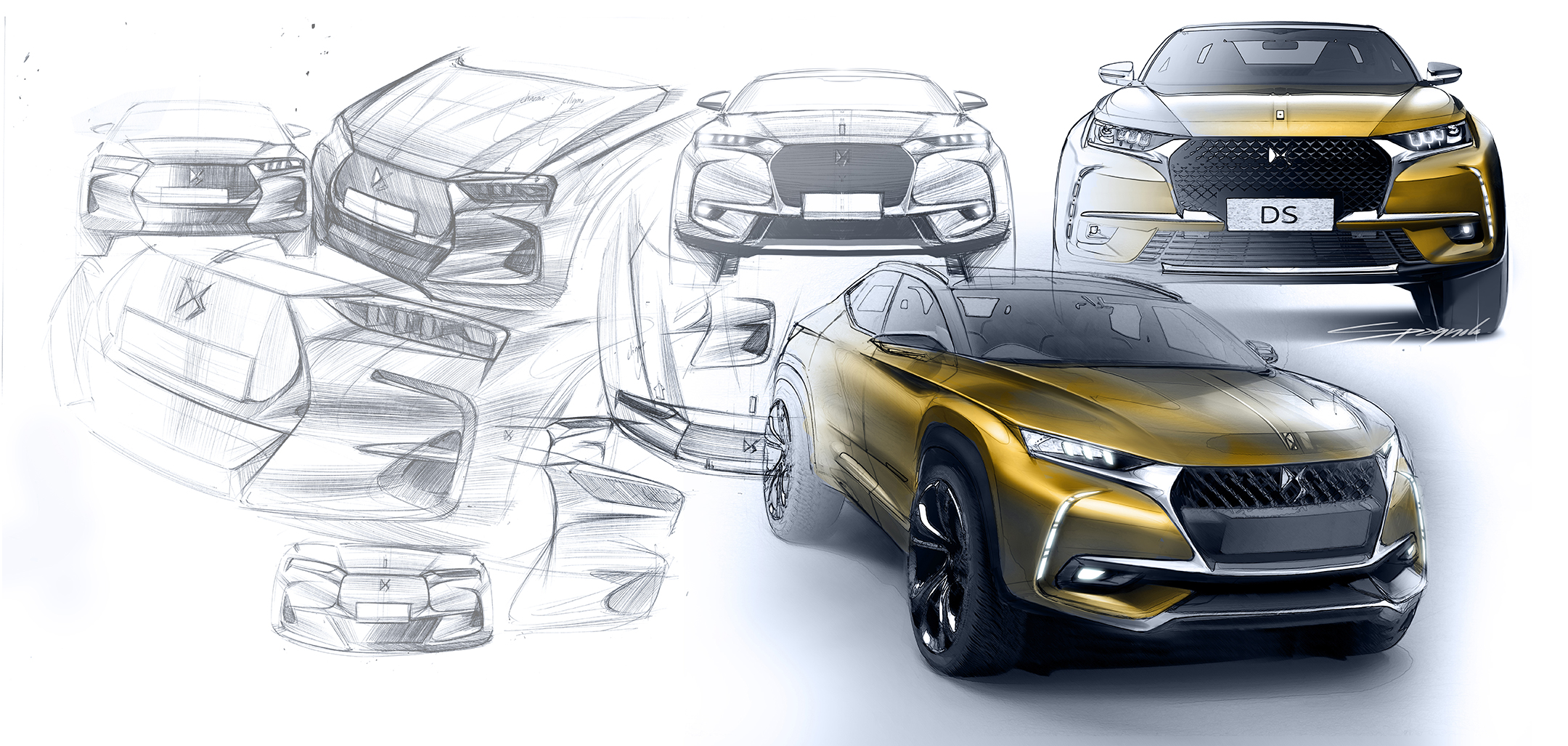 DS 7 CROSSBACK - 2017 - front sketch design