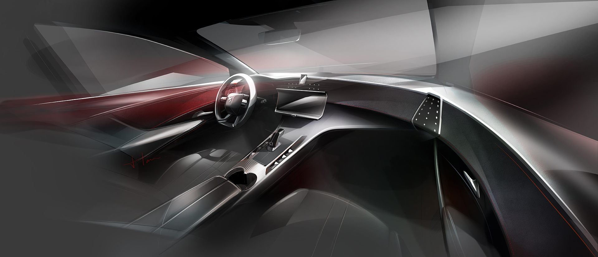 DS 7 CROSSBACK - 2017 - interior sketch design