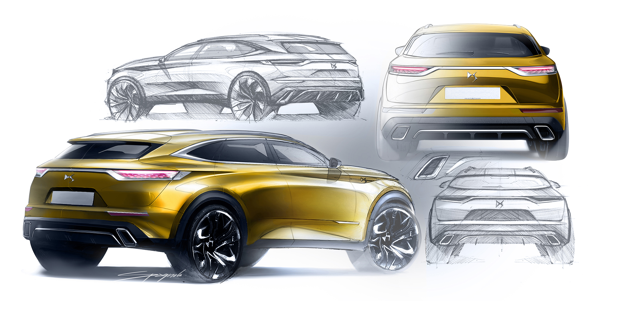 DS 7 CROSSBACK - 2017 - rear sketch design