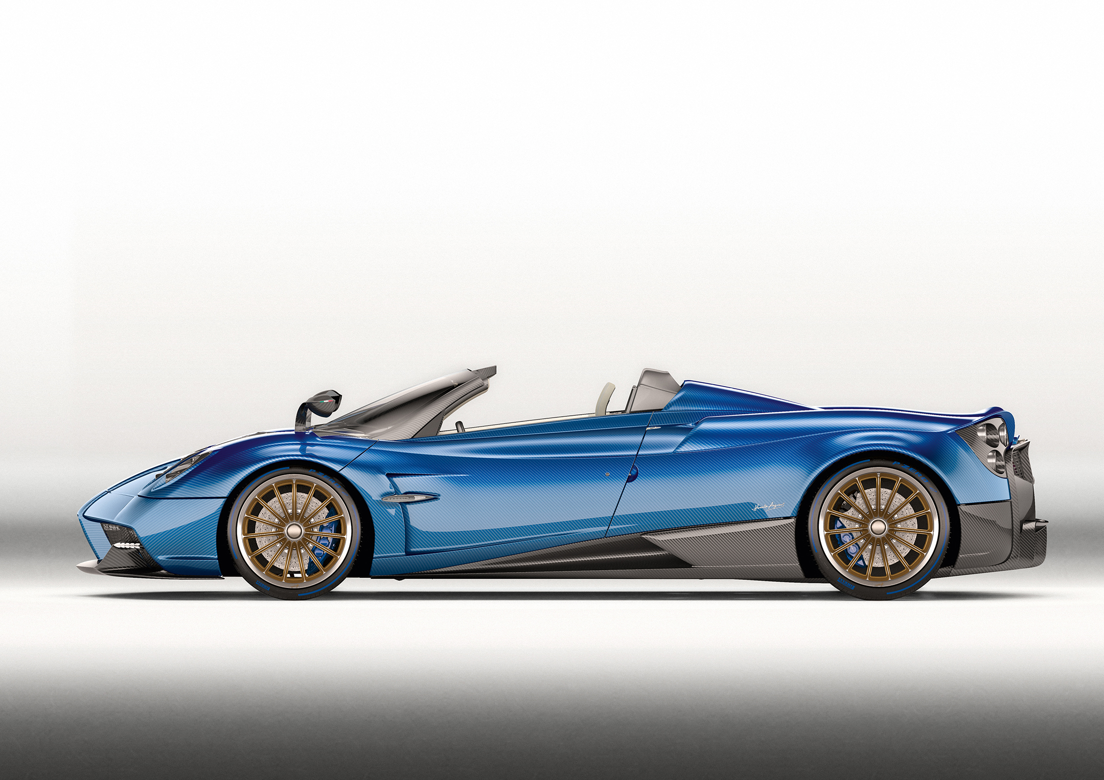 Pagani Huayra Roadster - 2017 - side-face / profil - open top / toit ouvert