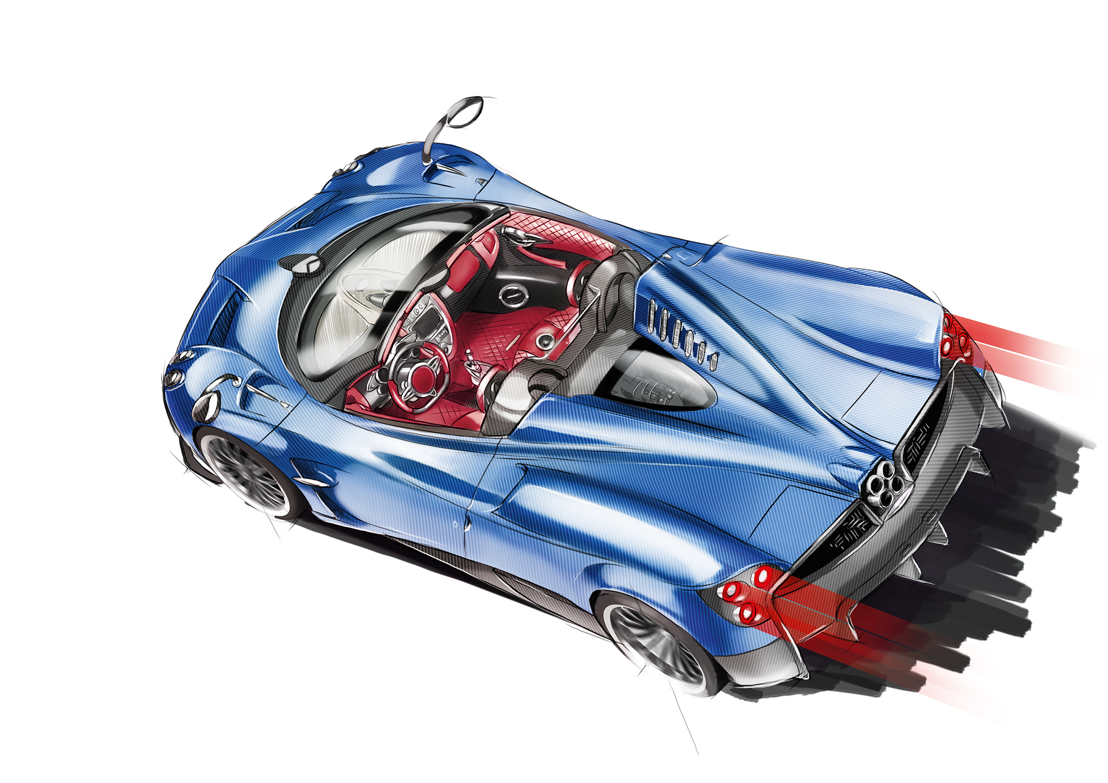 Pagani Huayra Roadster - 2017 - rear sketch