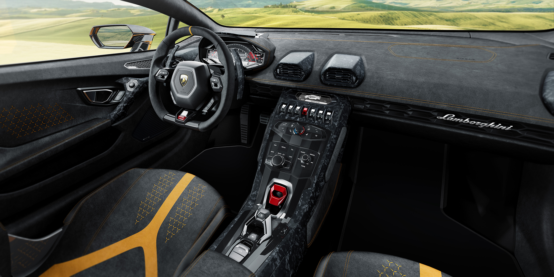 Lamborghini Huracan Performante - 2017 - orange - interior / intérieur