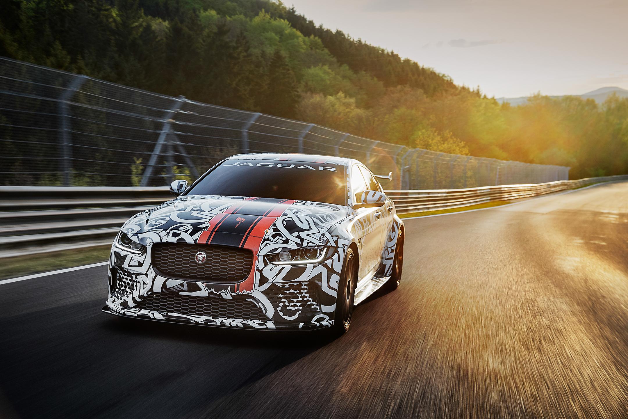 Jaguar XE SV Project 8 - teaser livery - 2017 - front track