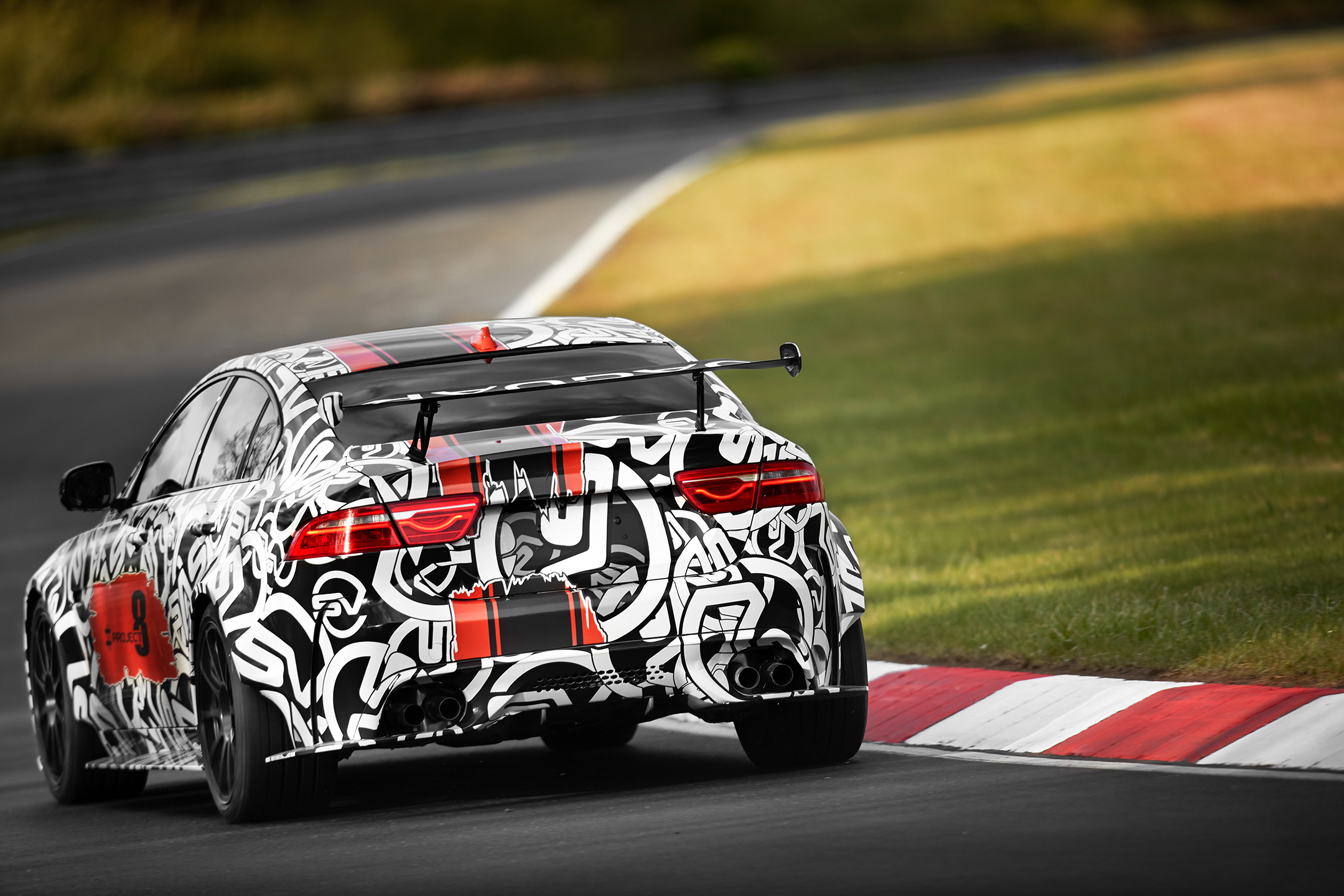 Jaguar XE SV Project 8 - teaser livery - 2017 - rear track