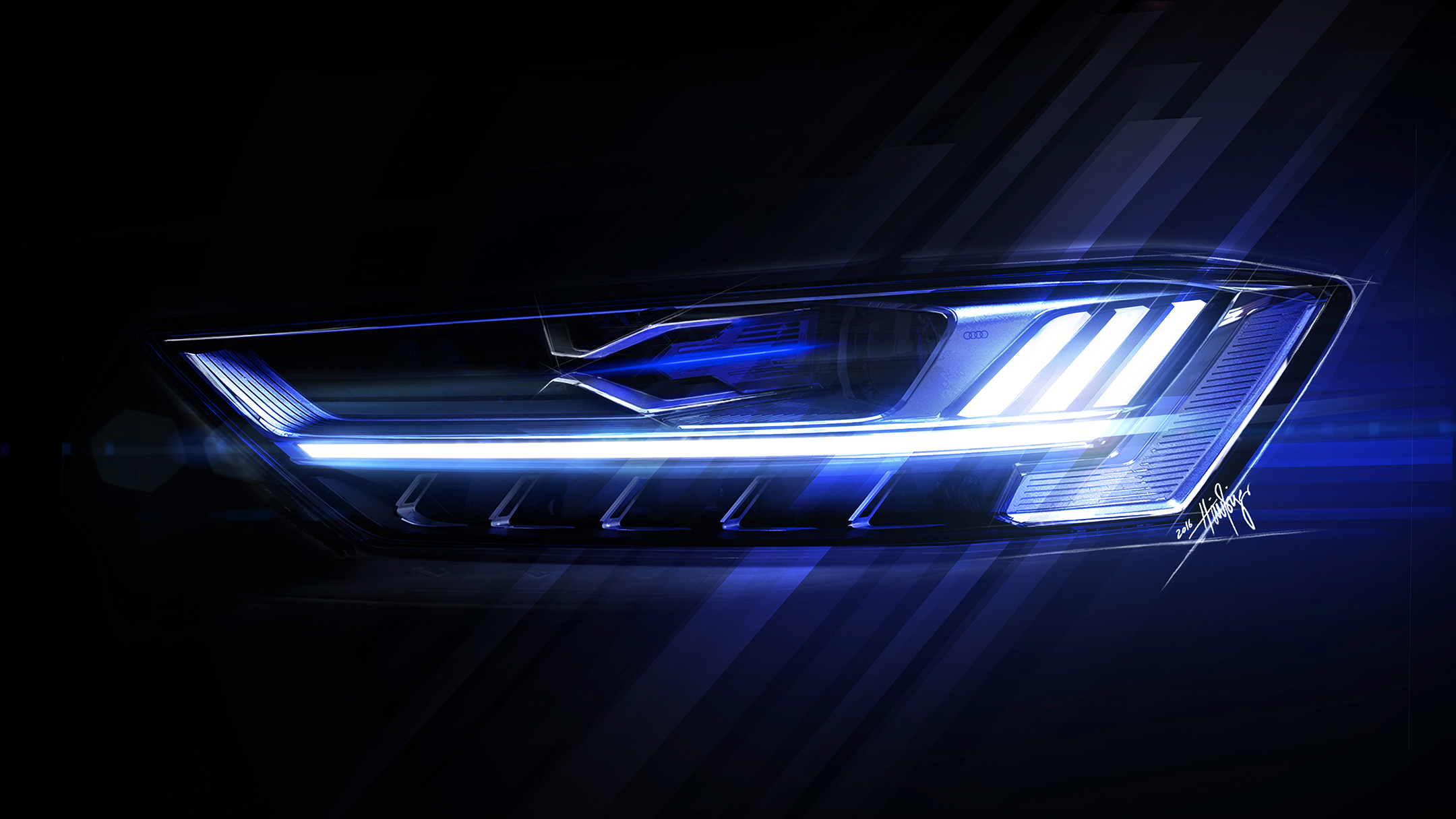 Audi A8 - 2017 - sketch - front light