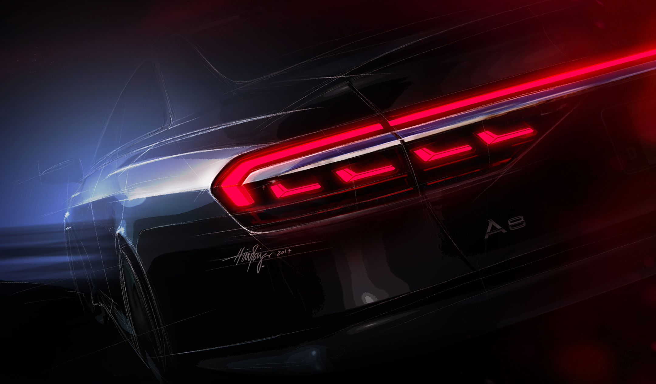 Audi A8 - 2017 - sketch - rear light