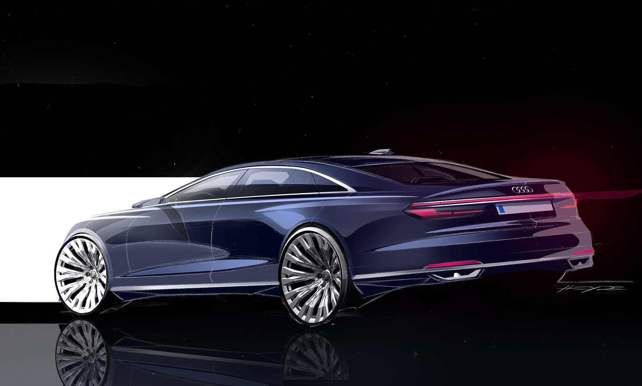 Audi A8 - 2017 - sketch - rear