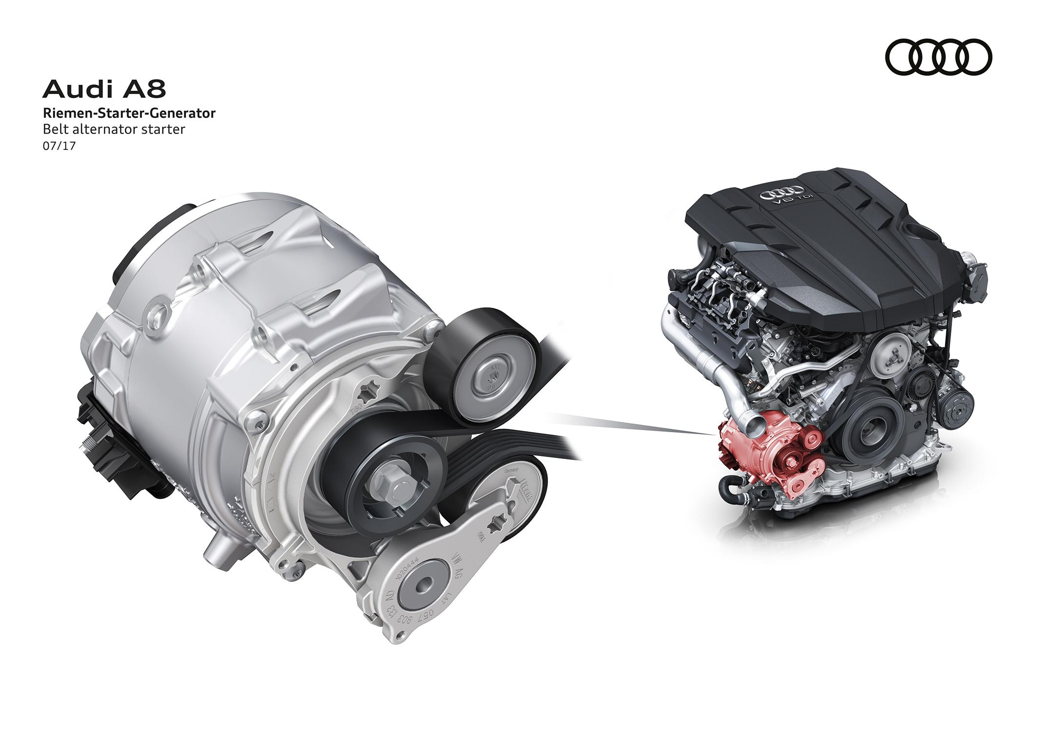 Audi A8 - 2017 - engine starter generator