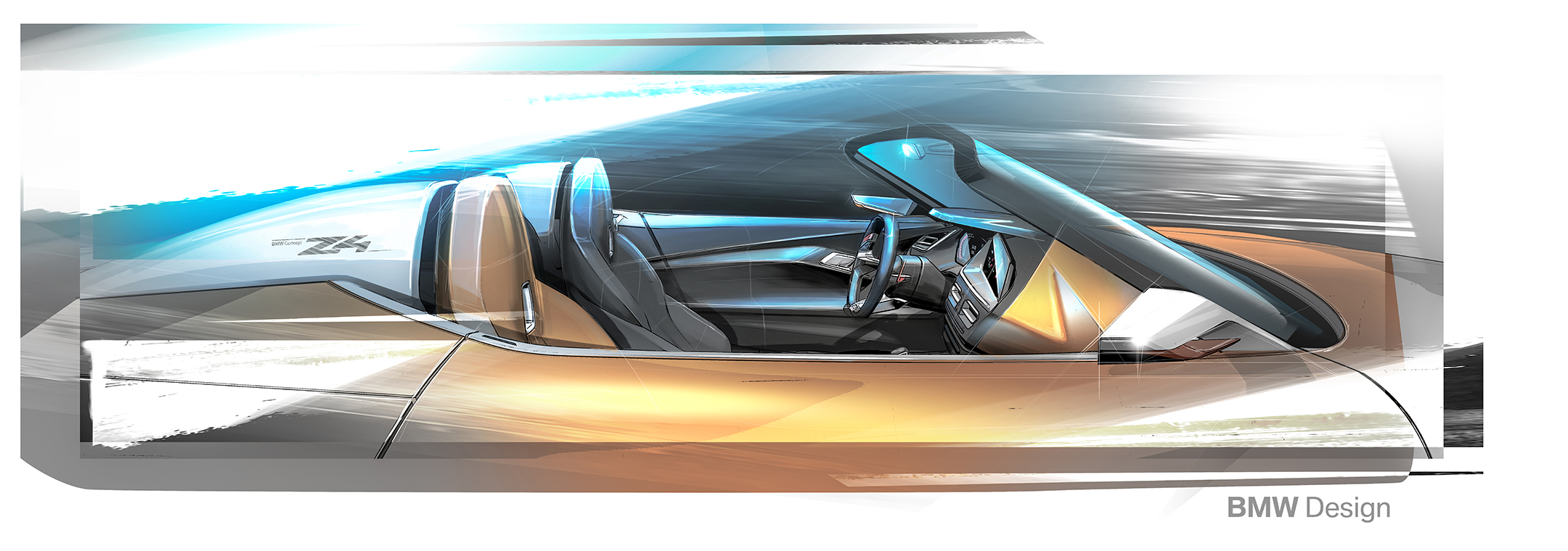 BMW Concept Z4 - 2017 - sketch - interior / intérieur - side-face / profil