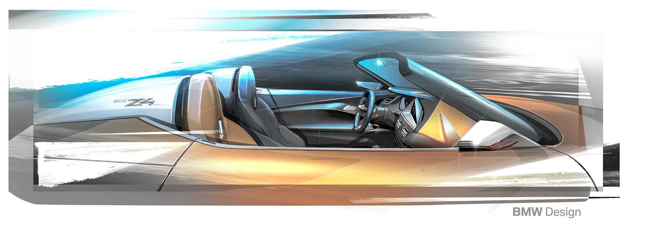 BMW Concept Z4 - 2017 - sketch - interior / intérieur - side-face / profil