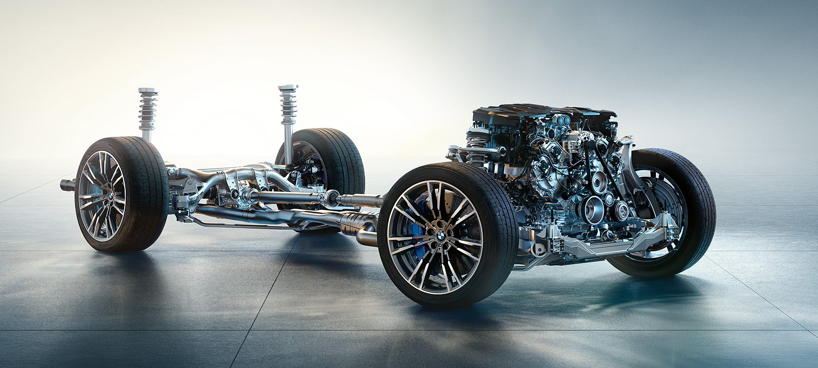 BMW M5 F90 - 2017 - under the hood - chassis powertrain