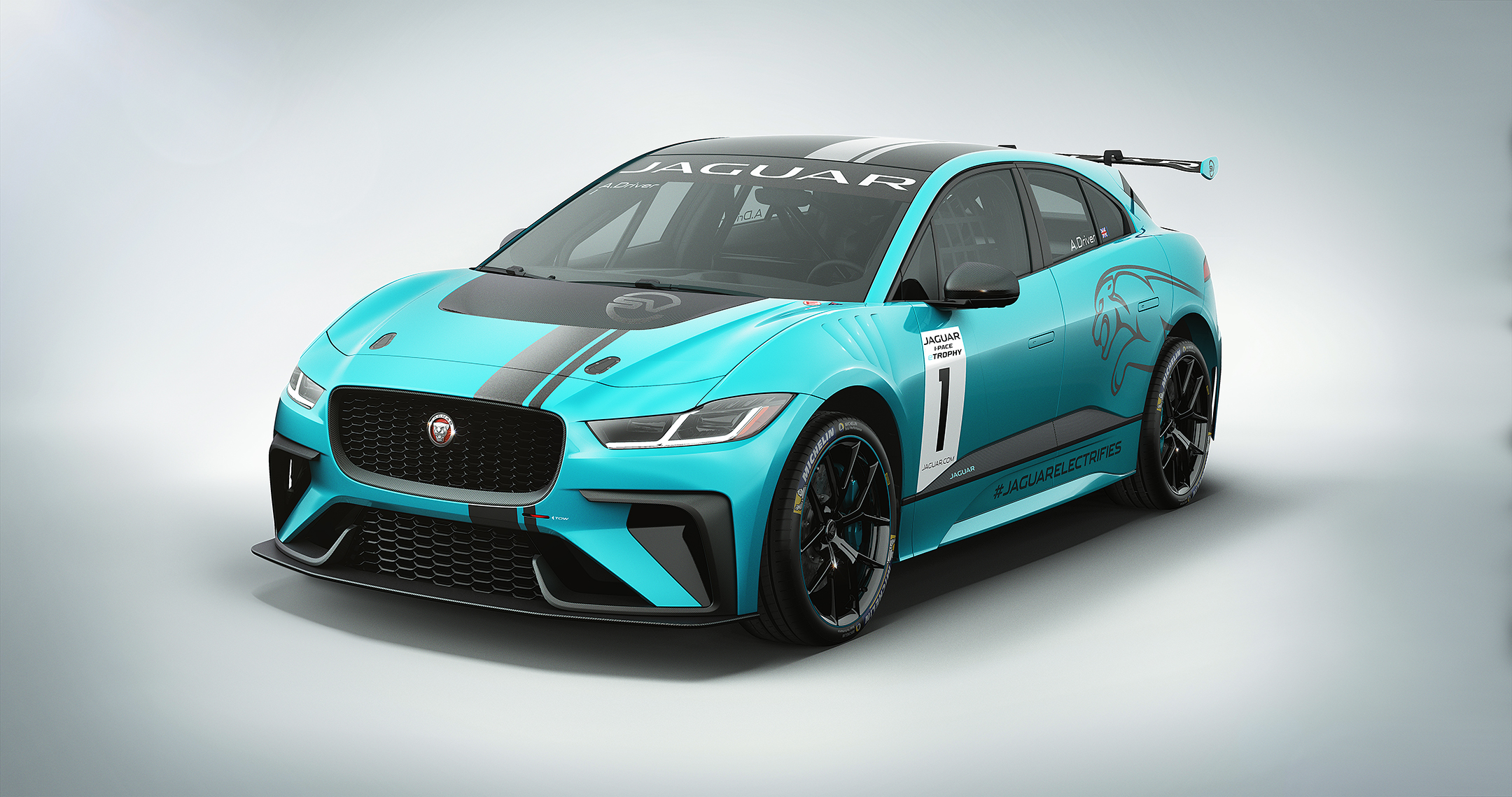 Jaguar I-PACE eTROPHY - 2017 - front side-face / profil avant