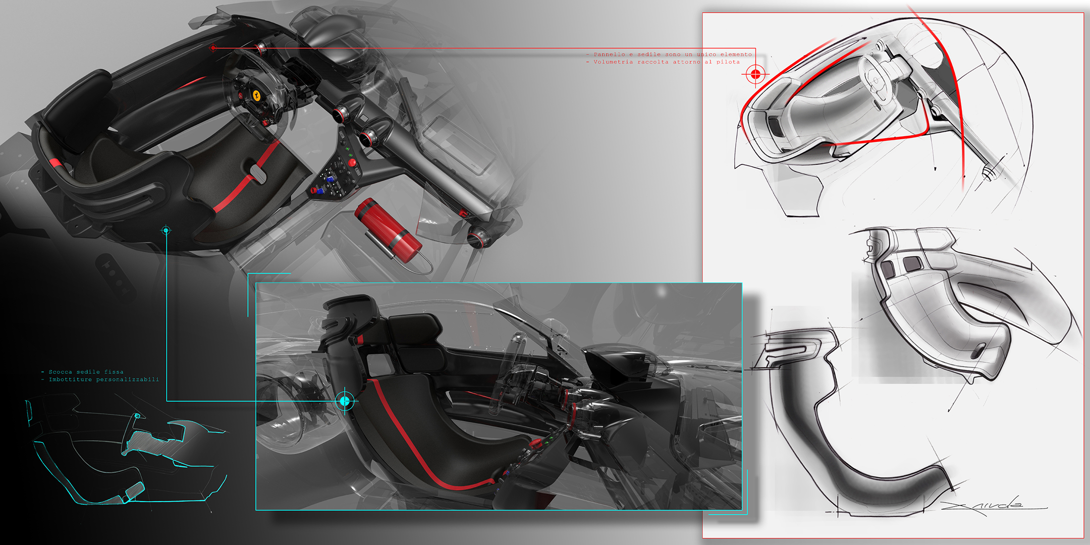 Ferrari FXX K - 2015 - design sketch - interior / intérieur