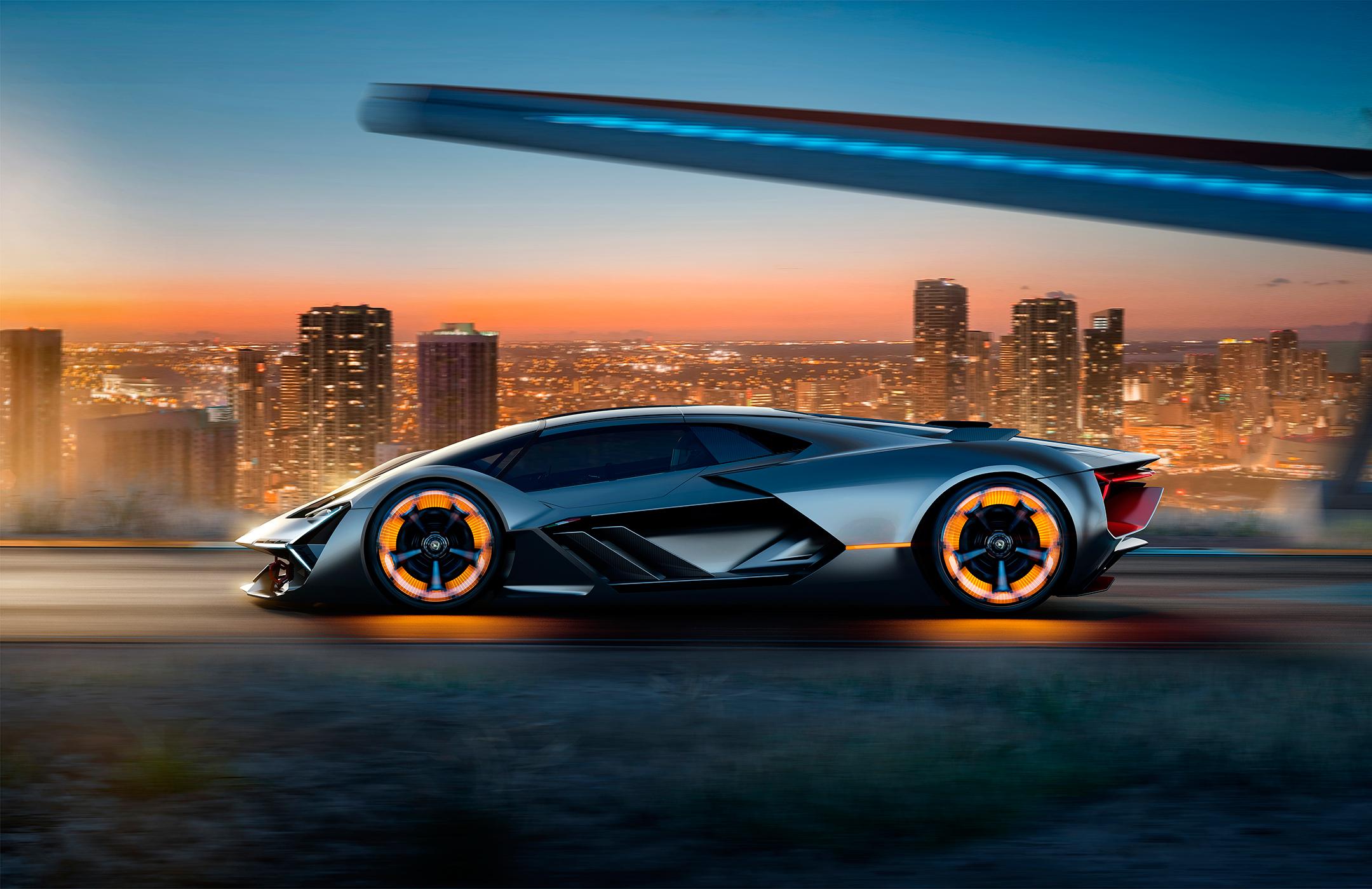 Lamborghini Terzo Millennio - 2017 - side-face road