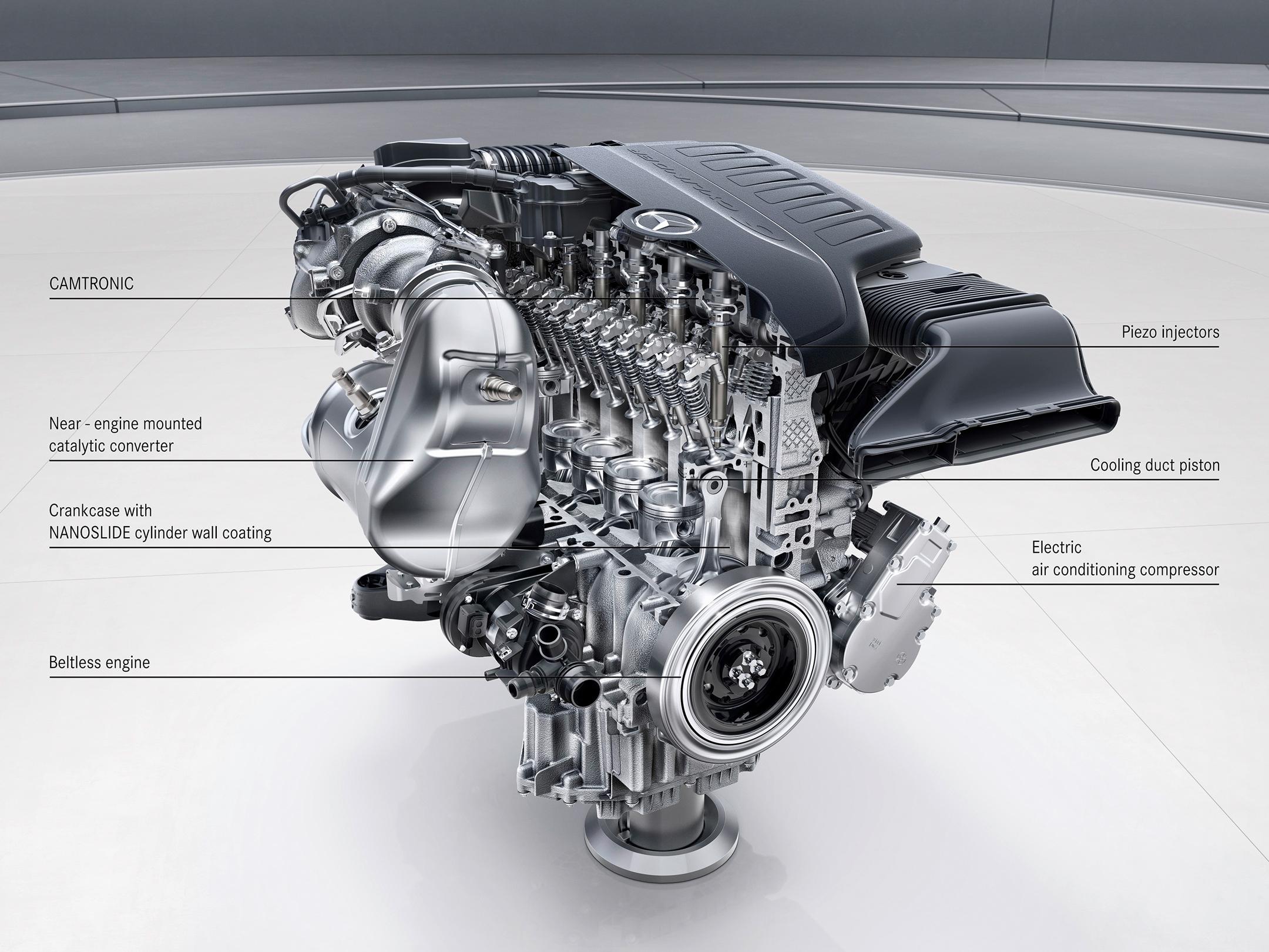Mercedes-Benz M256 six-cylinder engine inside