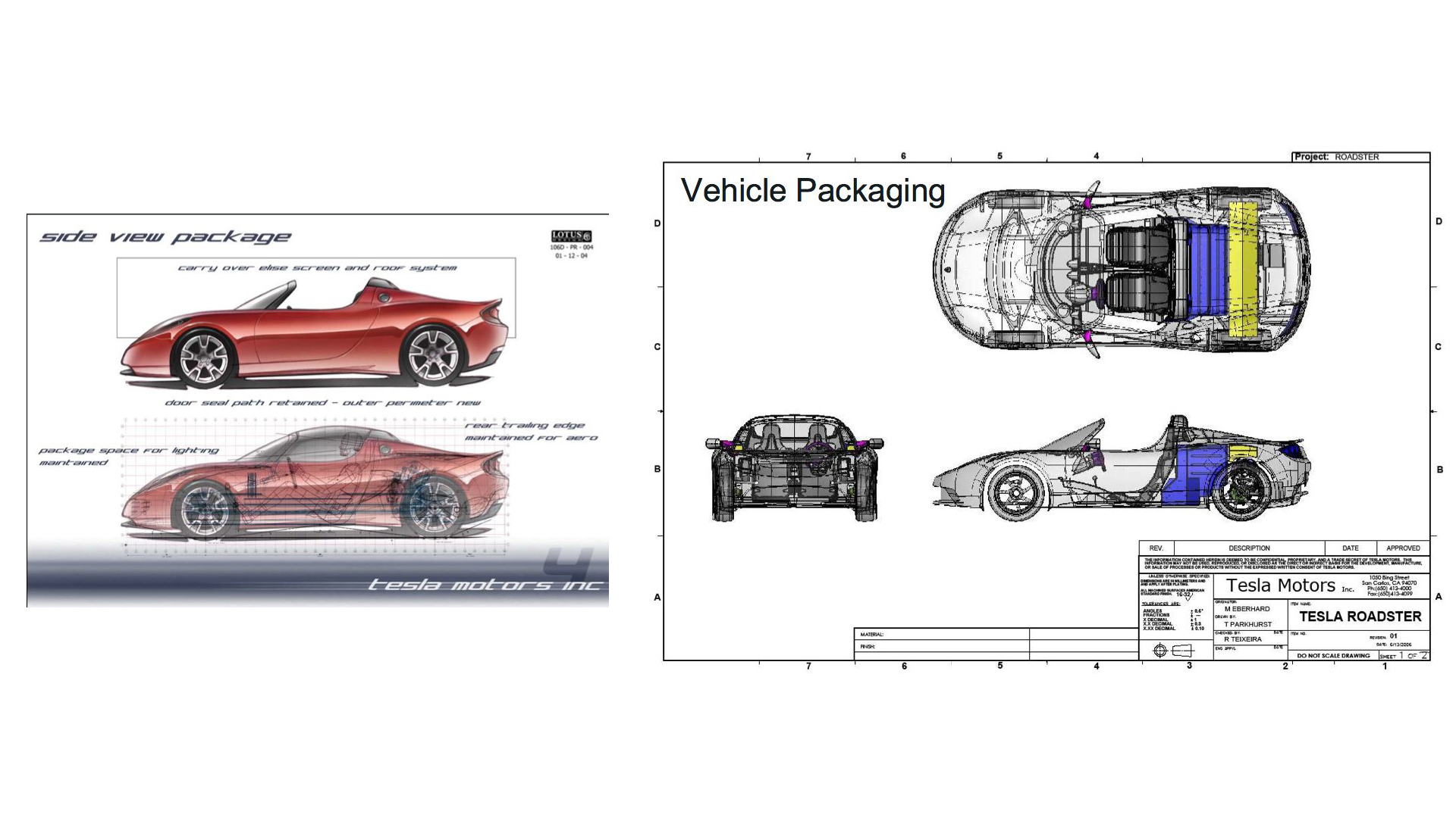 Tesla Roadster 2004 prototype sketch
