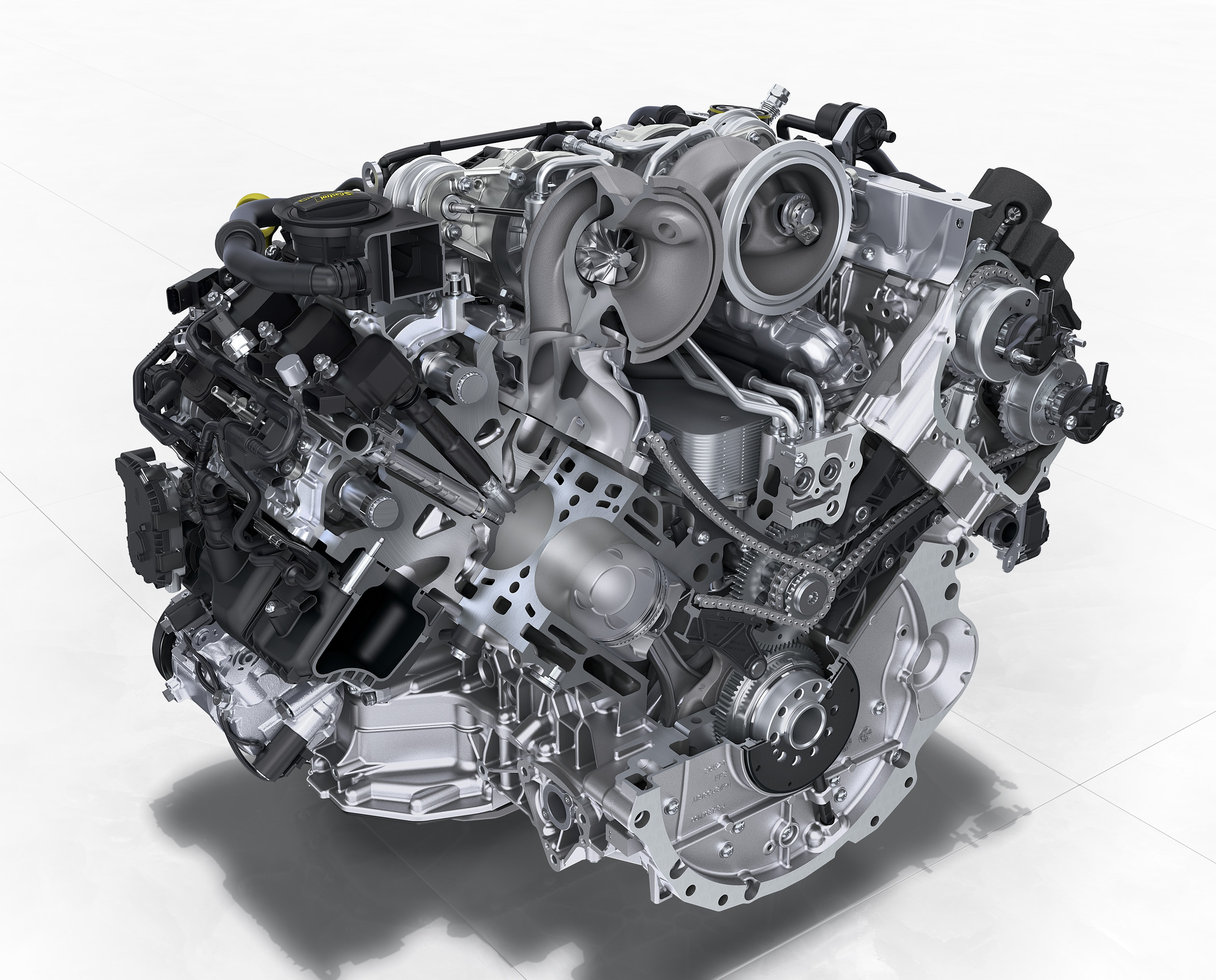 VW Group - inside engine bi-turbo gasoline V8