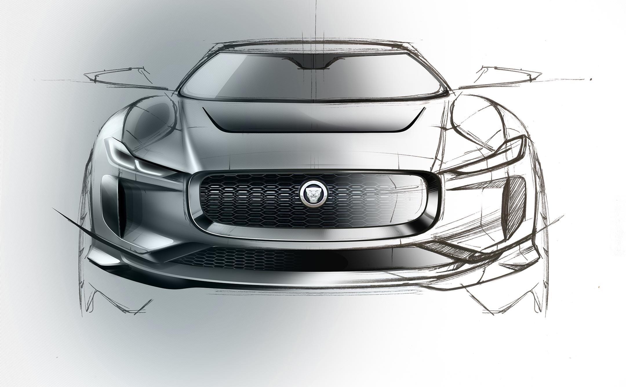 Jaguar I-PACE - 2018 - sketch design - front-face / face avant