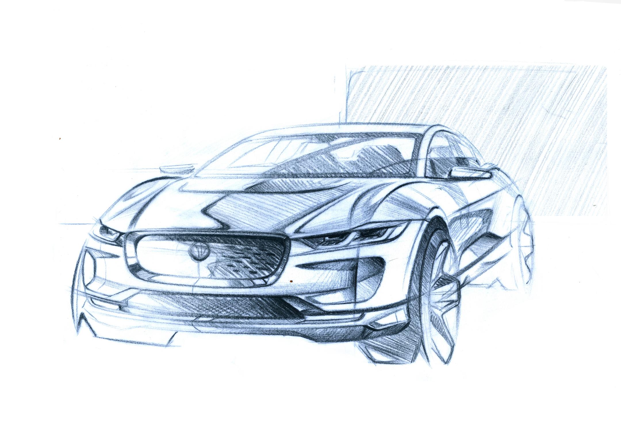 Jaguar I-PACE - 2018 - sketch design - front / avant