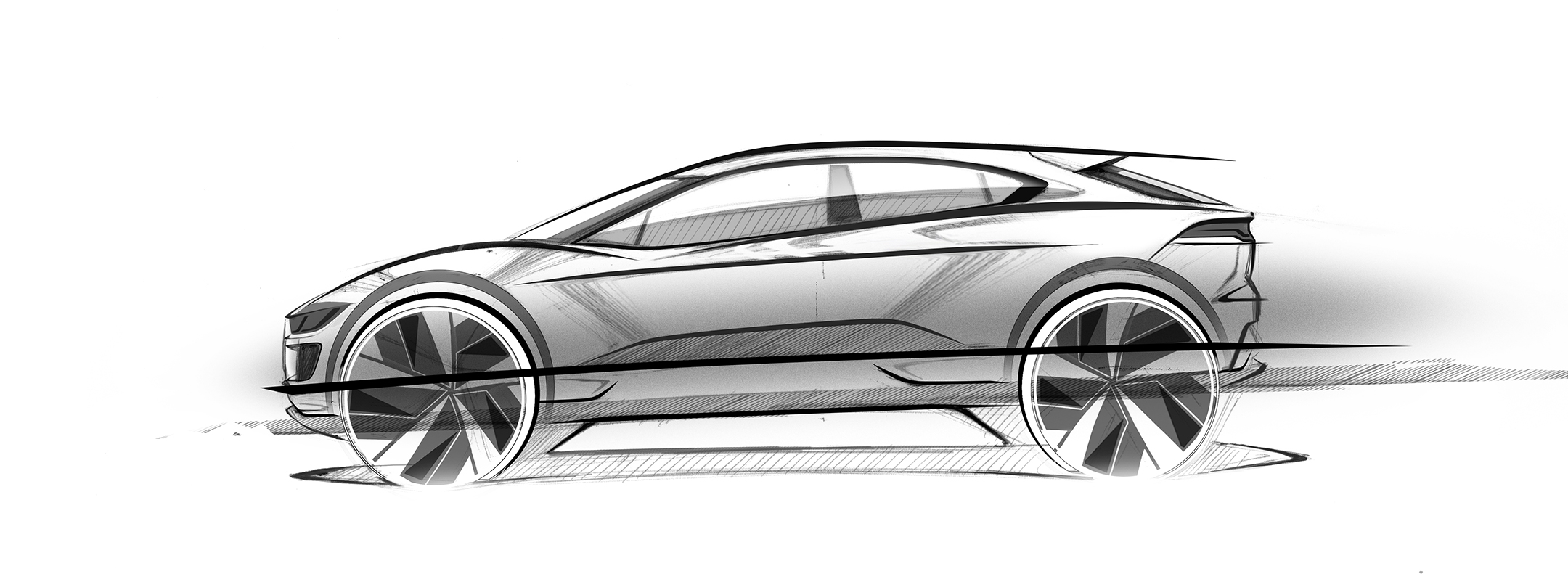 Jaguar I-PACE - 2018 - sketch - side-face / profil