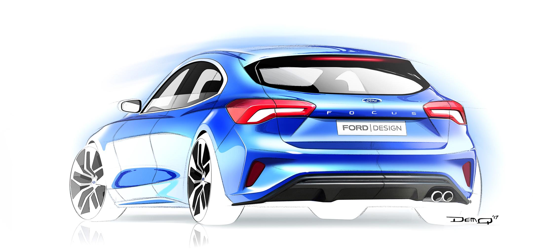 Ford Focus ST-Line - 2018 - sketch - rear / arrière
