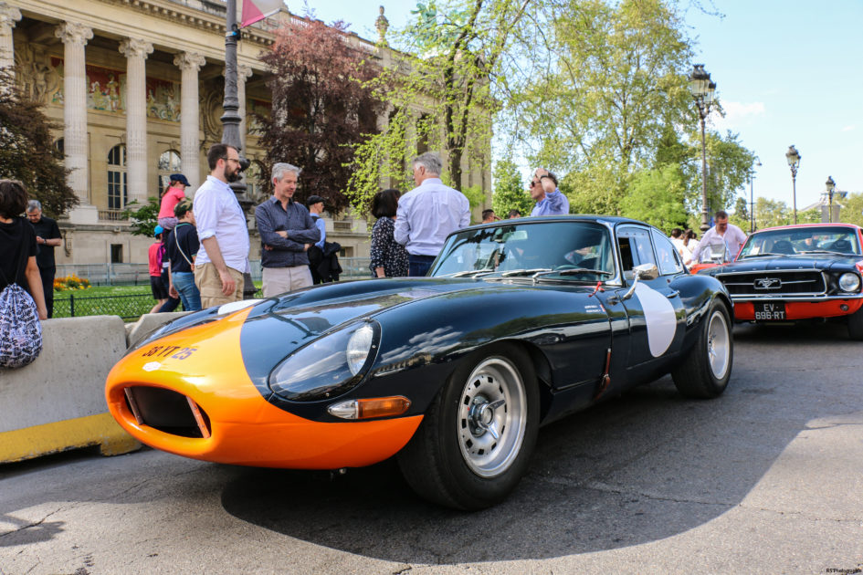 Jaguar TypeE 3.8L livery orange green - 1961 - Paris - Tour Auto - 2018 – photo by Arnaud Demasier RS Photographie