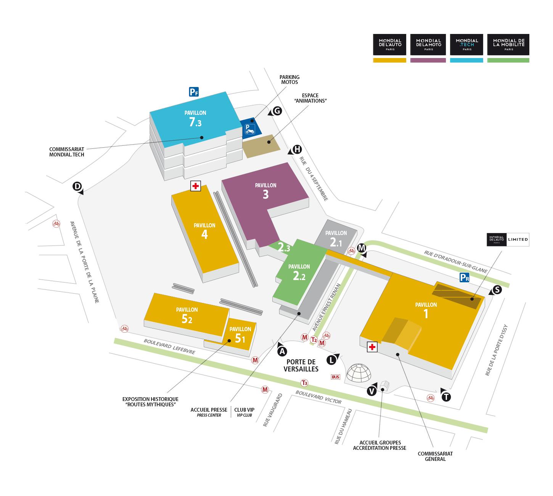 Mondial Paris 2018 - plans - Mondial Auto, Mondial Moto, Mondial Mobilité, Mondial.Tech