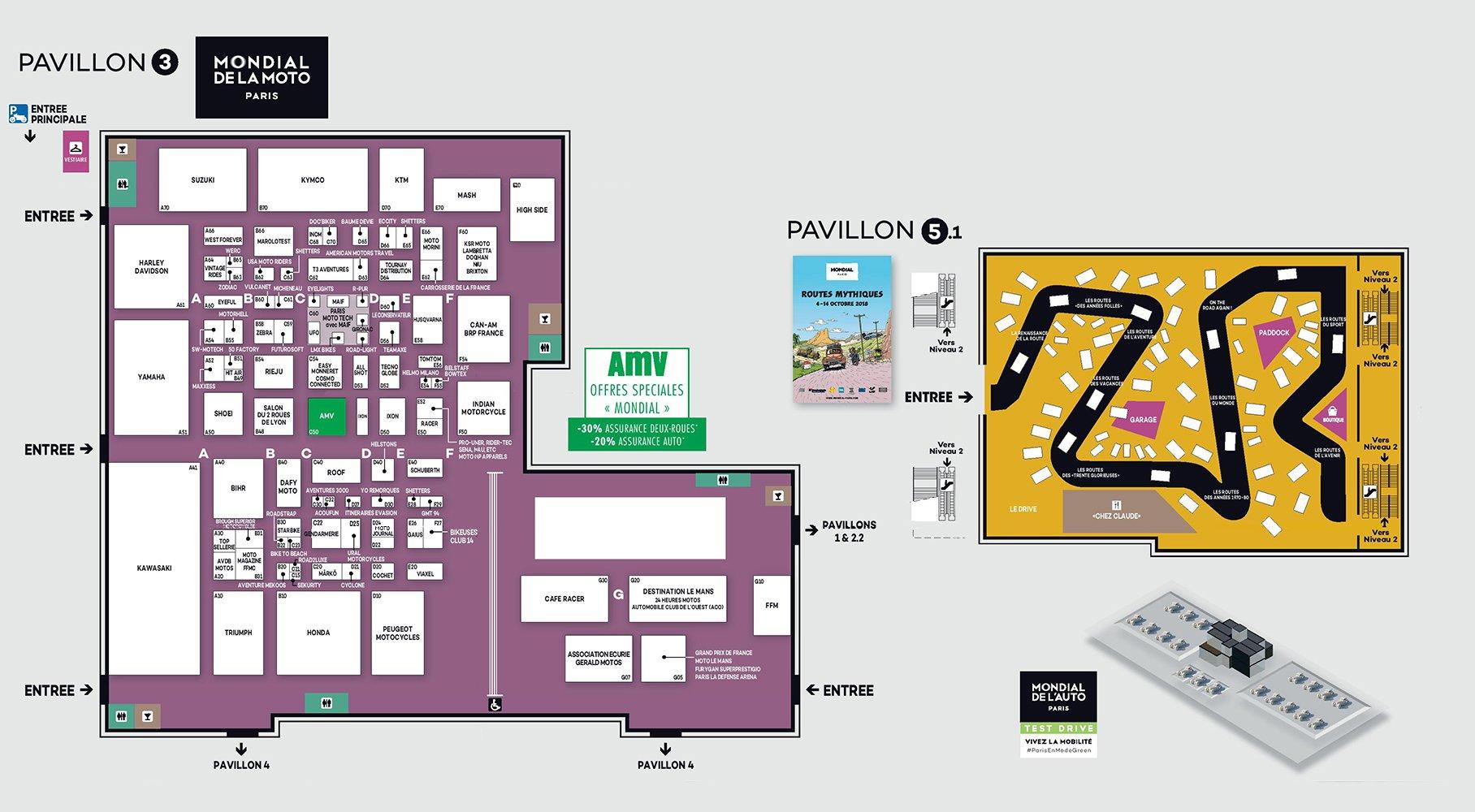 Mondial Paris 2018 - plan - Pavillon 3 - Mondial Moto - Pavillon 5 - Expo Routes Mythiques