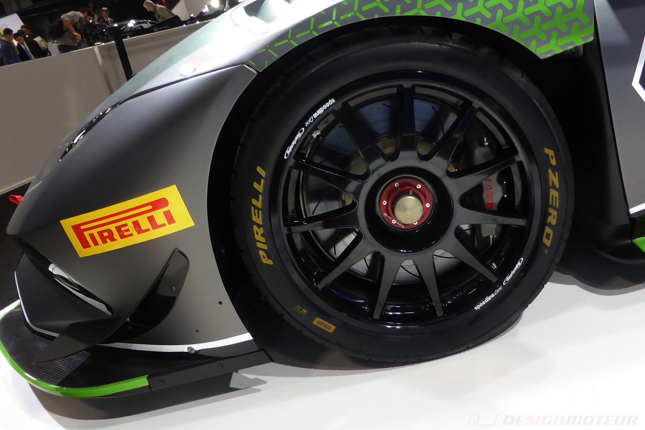 Lamborghini Huracán Super Trofeo Evo - front wheel - Paris Motor Show - 2018 - Mondial Auto -photo ELJ DESIGNMOTEUR