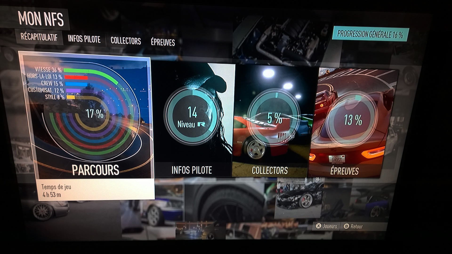 Need for Speed - screen photo - 2015 - ma progression : 16%, 5h de jeu, dont 2h à regarder les éléments custom, moteur et un temps à passer à peindre.