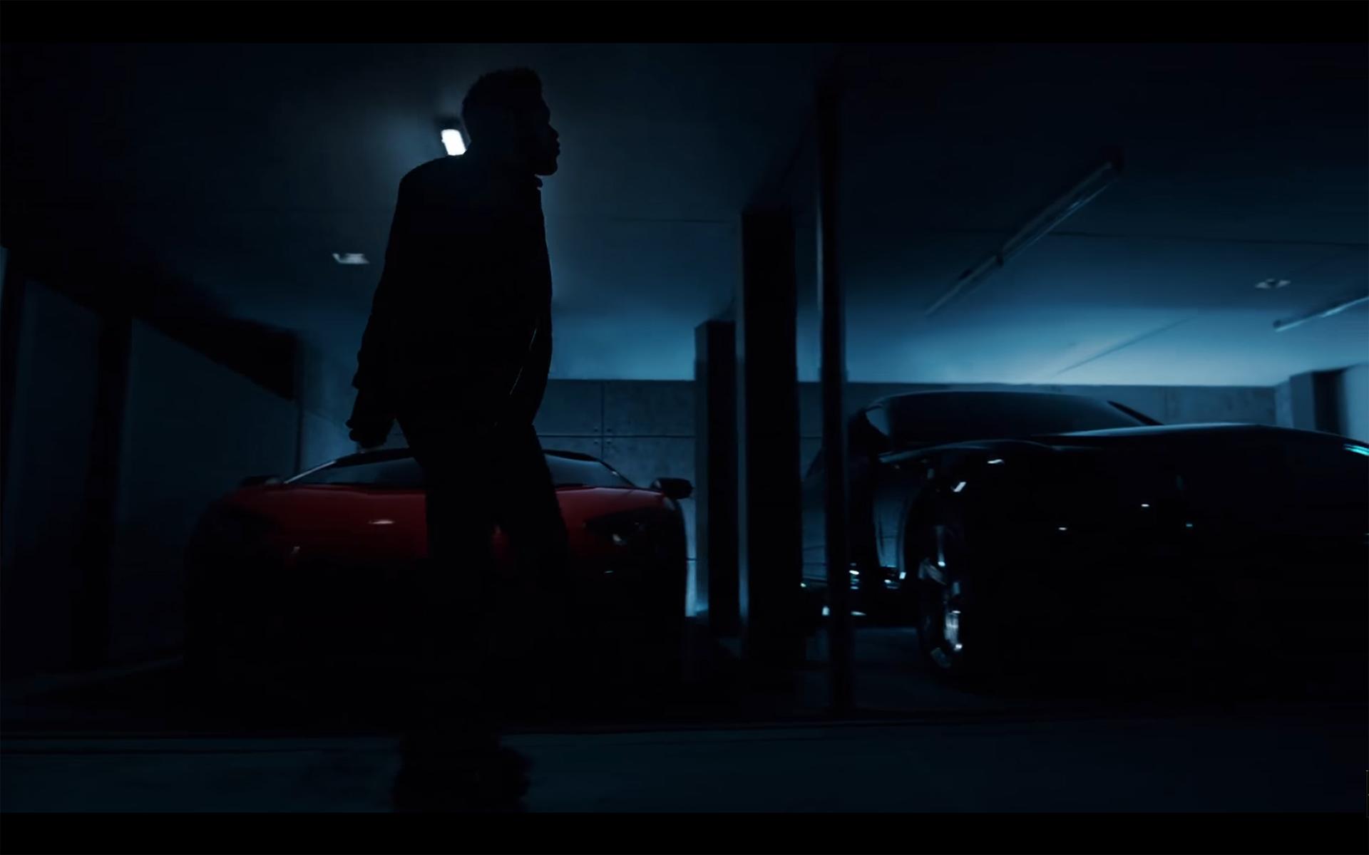Starboy - The Weeknd - cat - red Lamborghini SV Roadster - walking in garage