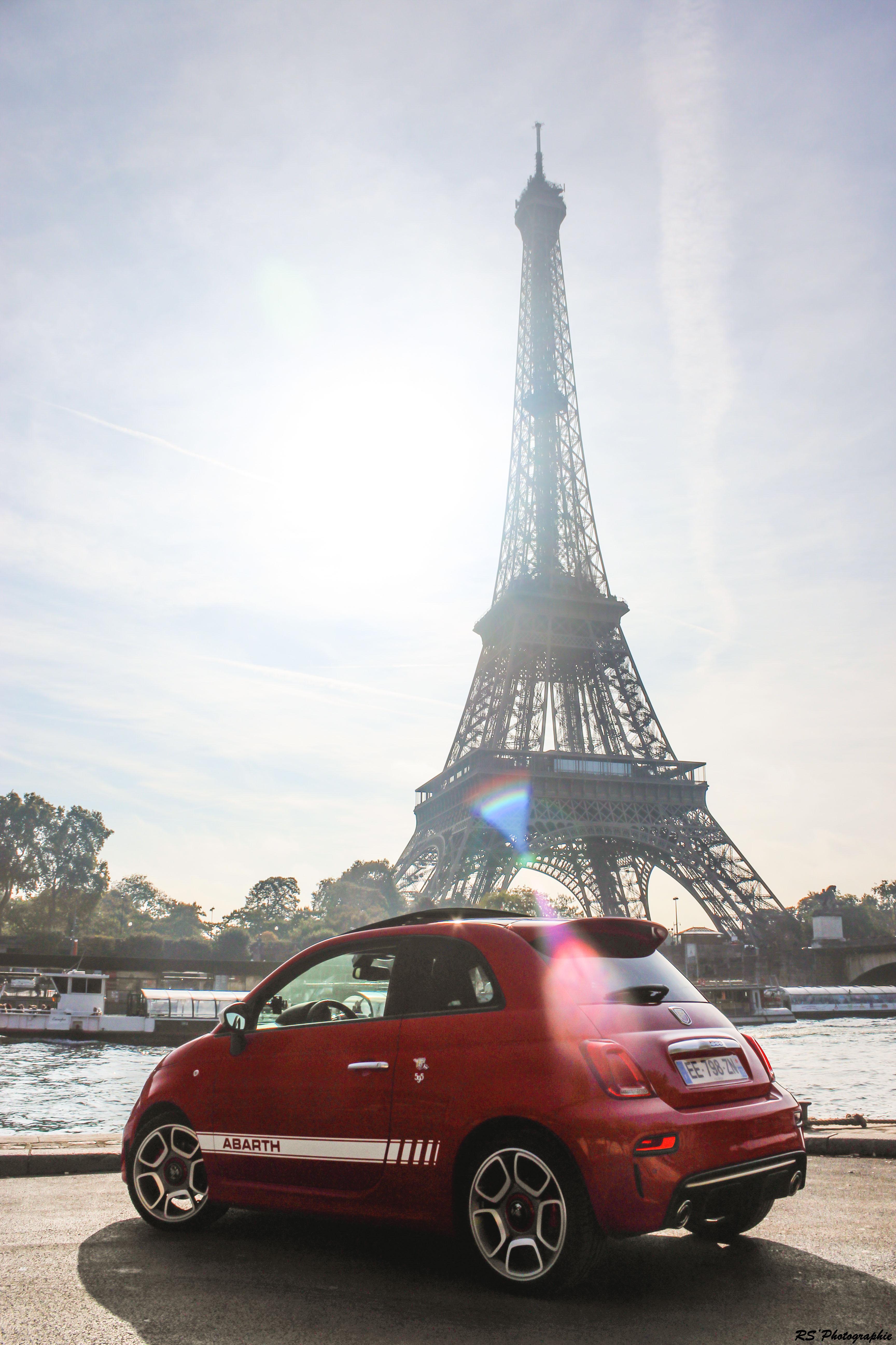 Abarth 595 - profil arrière / rear side-face - Tour Eiffel - Arnaud Demasier - RS Photographie