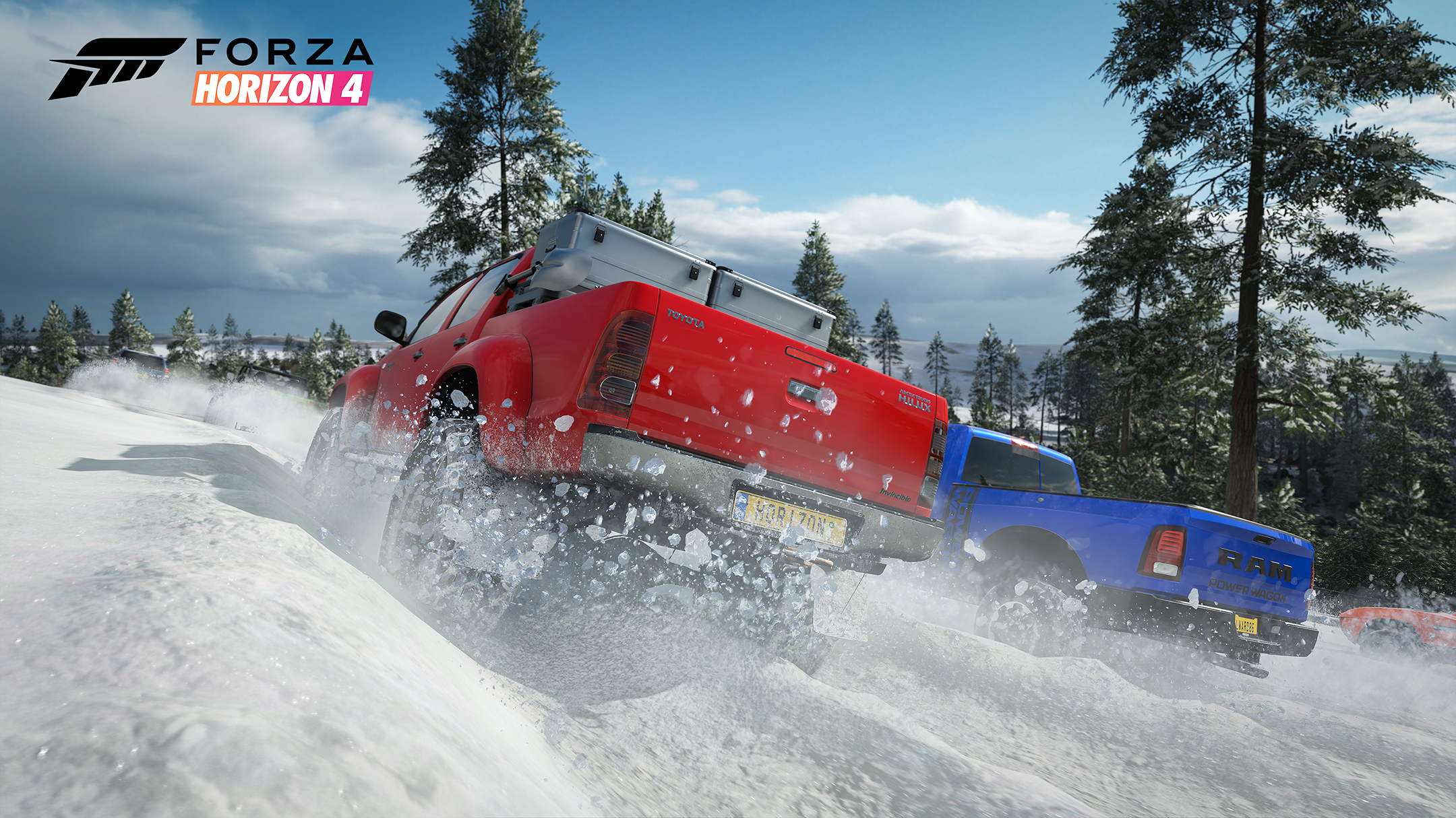 Forza Horizon 4 - 2018 - screen cars - snow trucks - RAM vs Toyota