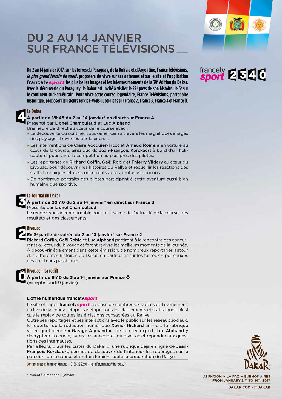 Dakar 2017 - programme TV