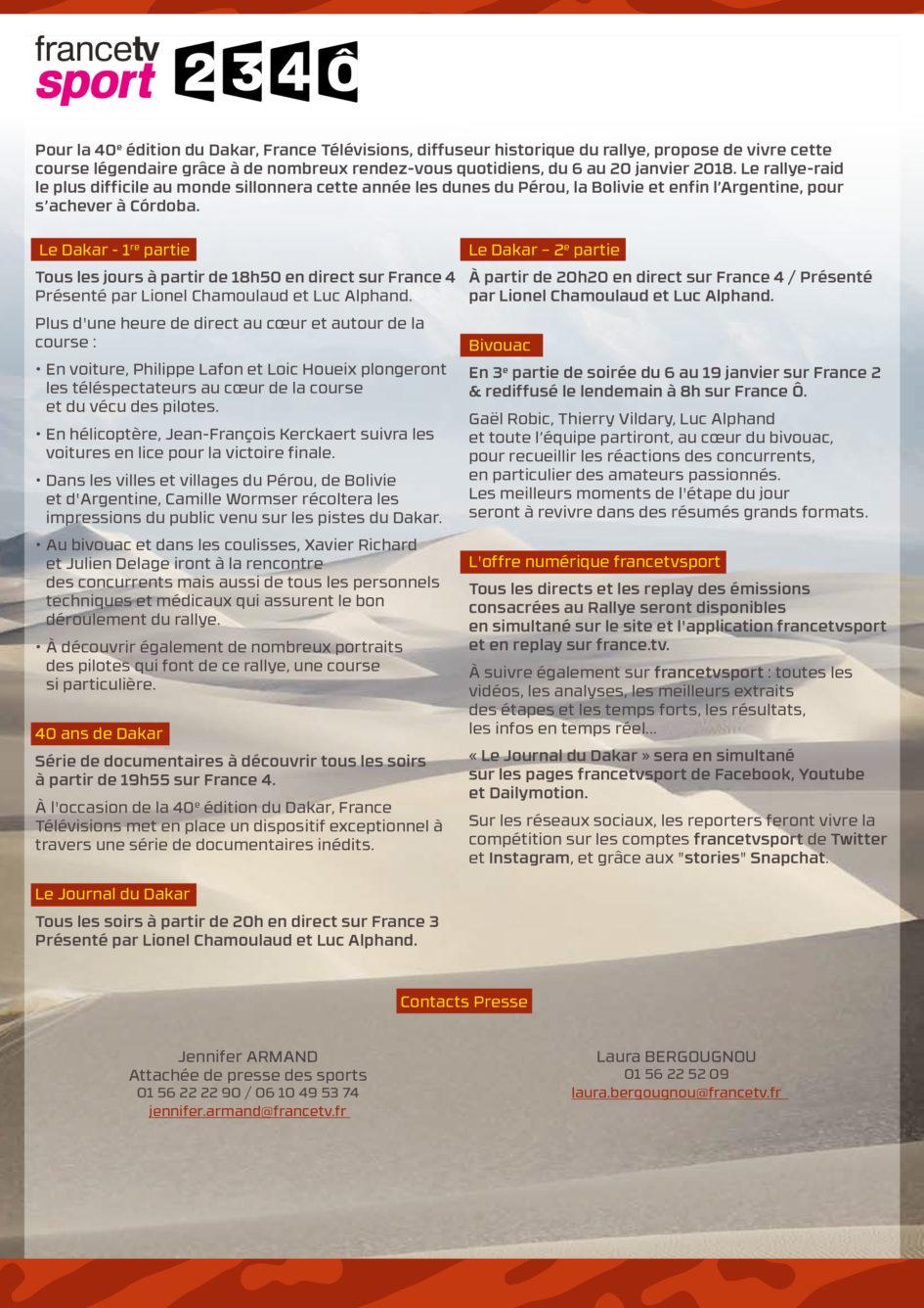 Infographie - Programme TV Dakar 2018 - du 6 au 20 janvier - via France Télévisions