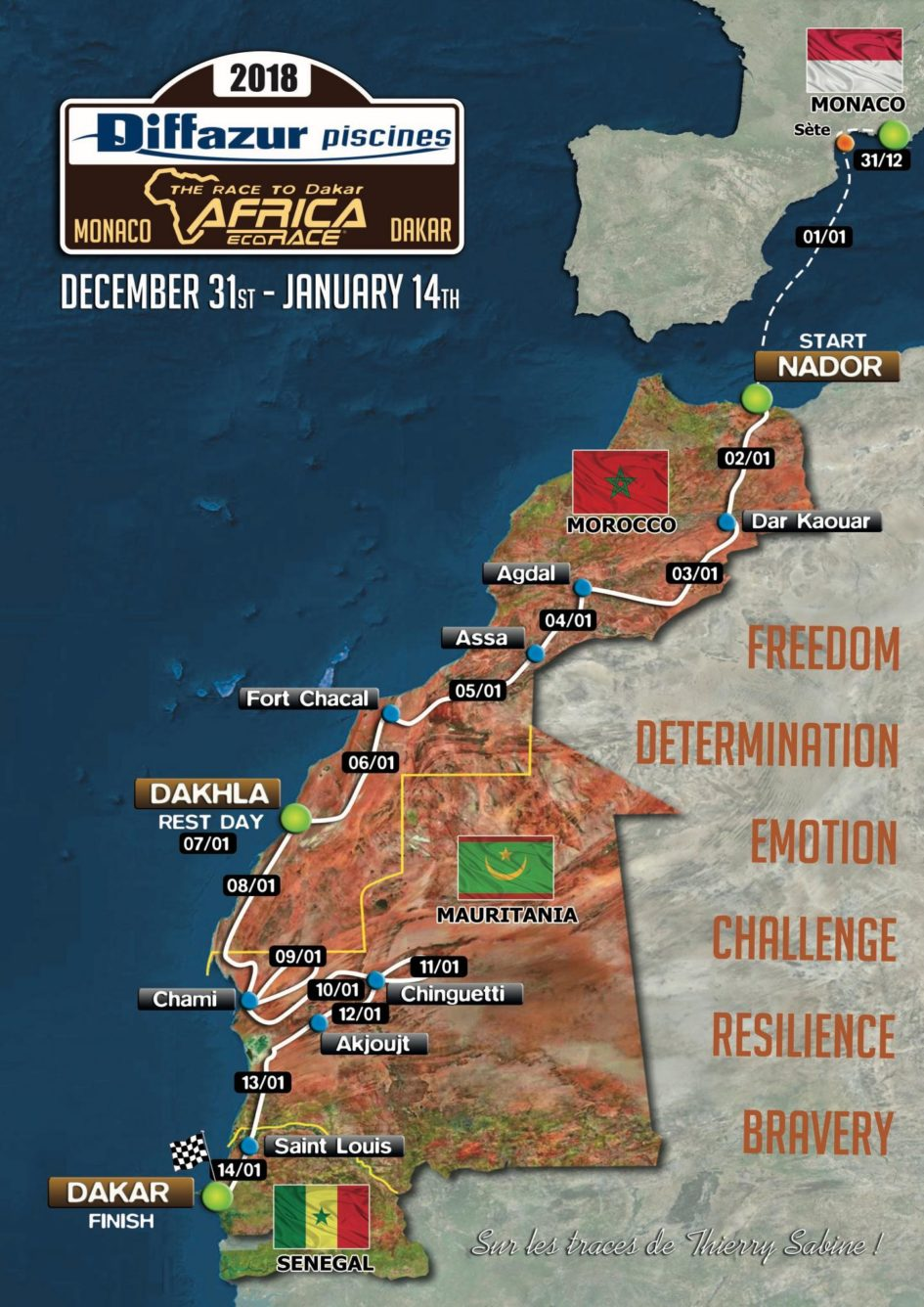 Africa Eco Race 2018 map - road to Dakar