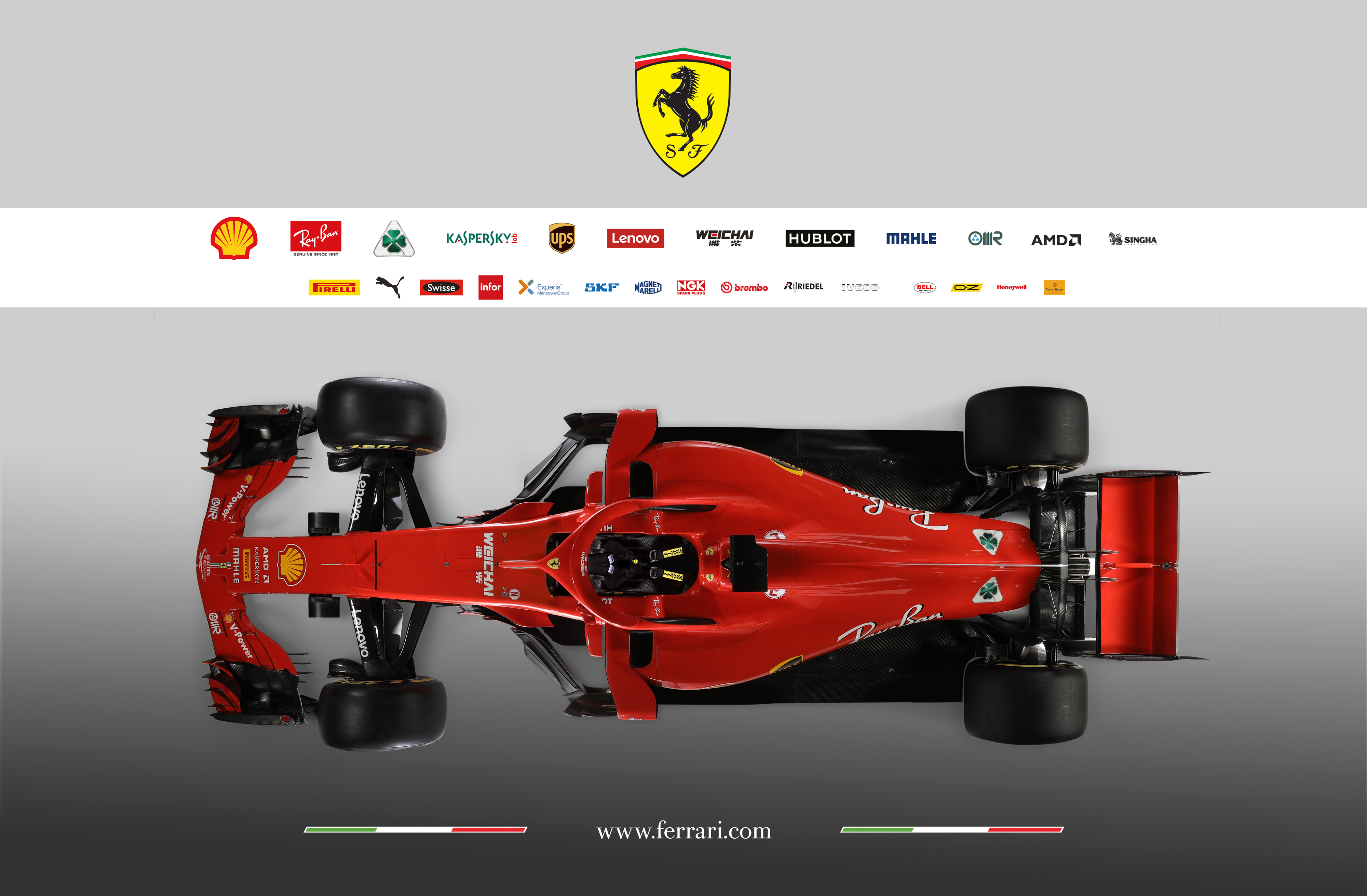 Scuderia Ferrari F1 SF-71H - 2018 - top-view
